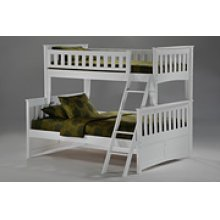 Ginger Twin Full Bunk in White Finish