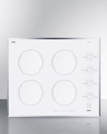 """24"""" Wide 4-burner Electric Cooktop In Smooth White Ceramic Glass Finish"""
