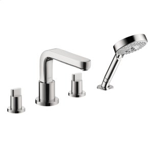 Chrome 4-Hole Roman Tub Set Trim with Full Handles and 2.0 GPM Handshower
