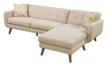 Sofa/chaise- Lsf Loveseat - Rsf Chaise Beige W/2 Accent Pillows