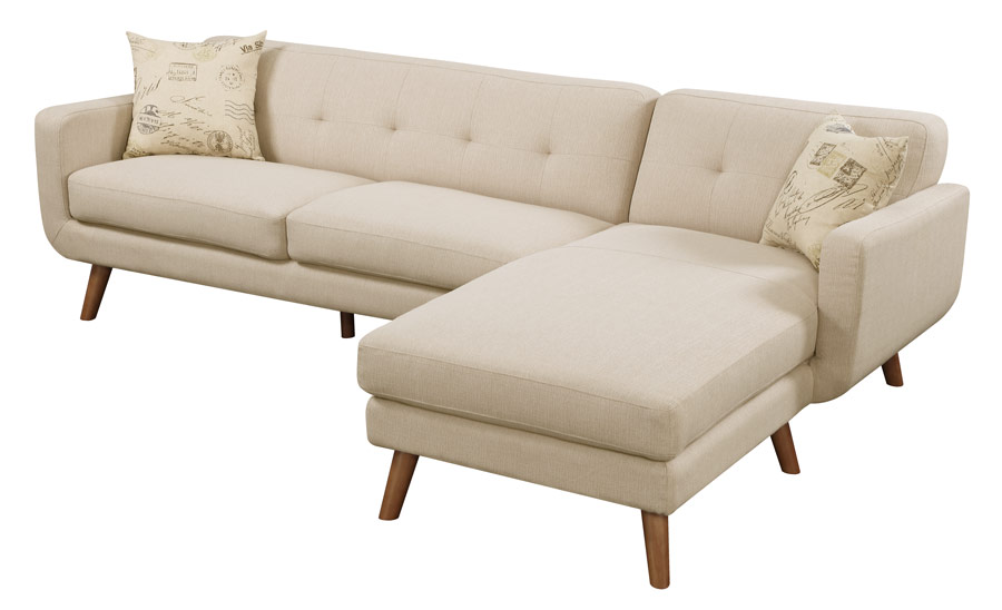 Sofa/chaise Lsf Loveseat Rsf Chaise Beige W/ 2 Pillows