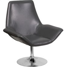 HERCULES Sabrina Series Gray Leather Side Reception Chair