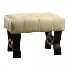 """Central Park 24"""" Tufted Cream Bonded Leather Ottoman"""