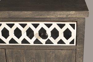 Artesa 2 Door Cabinet - Bone Drawer Fronts - Distressed Brown Gray