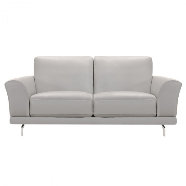 Armen Living Everly Contemporary Loveseat in Genuine Dove Grey Leather with Brushed Stainless Steel Legs