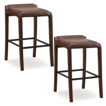 Sienna Wood Fastback Bar Height Stool with Sable Faux Leather Seat #10117SN/SB - Set of 2
