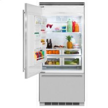 "Professional Built-In 36"" Bottom Freezer Refrigerator - Solid Stainless Steel Door - Left Hinge, Slim Designer Handle"