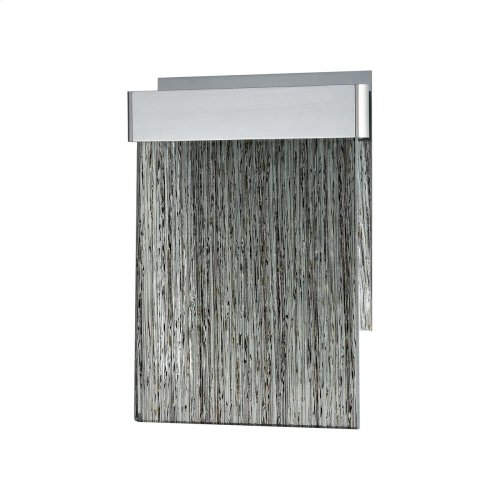 Meadowland 1-Light Sconce in Satin Aluminum and Chrome with Textured Glass - Integrated LED