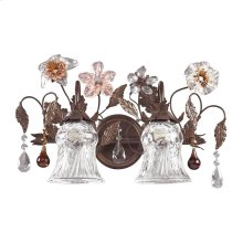 Cristallo Fiore 2-Light Vanity Lamp in Deep Rust with Clear and Amber Florets
