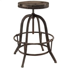 Collect Wood Top Bar Stool in Brown