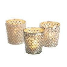 Textured Mercury Glass Tealight Holder (3 asstd)