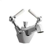 Waldorf White Single Lever Lavatory Faucet - Polished Chrome