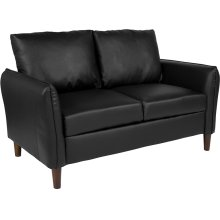 Milton Park Upholstered Plush Pillow Back Loveseat in Black Leather
