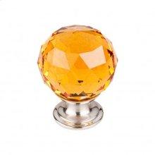 Amber Crystal Knob 1 3/8 Inch - Brushed Satin Nickel