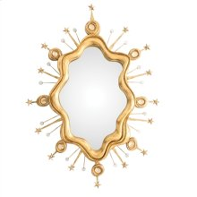 CAST RESIN BIJOUTERIE MIRROR I N SATIN GOLD GILT WITH ROCK CR YSTAL ACCENTS