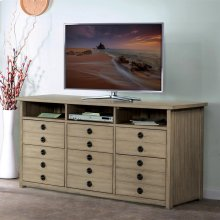 Perspectives - Entertainment File Cabinet - Sun-drenched Acacia Finish