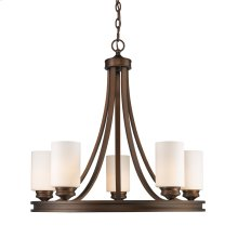Hidalgo Five Light Chandelier in the Sovereign Bronze finish with Opal Glass