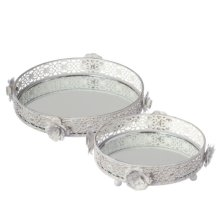 White and Gold Rose Vanity Tray set/2.