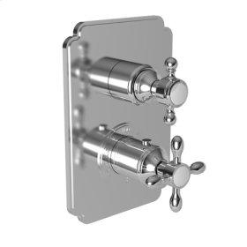"""Matte White 1/2"""" Square Thermostatic Trim Plate with Handle"""