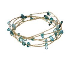 Blue Beaded Wire Bangles