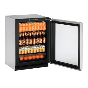 "U-Line2000 Series 24"" Glass Door Refrigerator With Integrated Frame Finish and Field Reversible Door Swing (115 Volts / 60 Hz)"