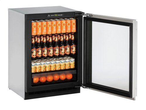 "2000 Series 24"" Glass Door Refrigerator With Stainless Frame (lock) Finish and Left-hand Hinged Door Swing (115 Volts / 60 Hz)"