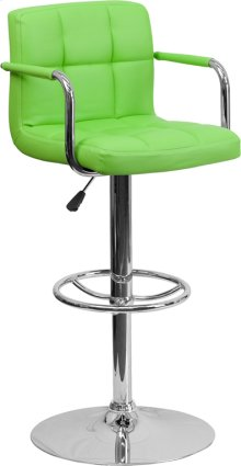 Contemporary Green Quilted Vinyl Adjustable Height Barstool with Arms and Chrome Base