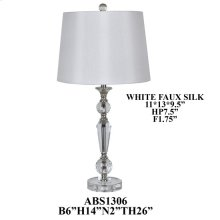 "26""TH CRYSTAL LAMP, HB WHT FAUX SILK 11X13X9.5"". 2PK 1.81'"