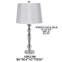 "26""TH CRYSTAL LAMP, HB WHT FAUX SILK 11X13X9.5"". 2PK 1.81'"