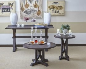 Pacific Heights Round Pedestal End Table- Chestnut