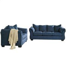 Signature Design by Ashley Darcy Living Room Set in Blue Microfiber [FSD-1109SET-BLU-GG]