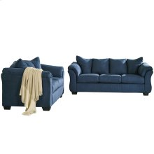 Signature Design by Ashley Darcy Living Room Set in Blue Microfiber [FSD-1109SET-BLU-GG]