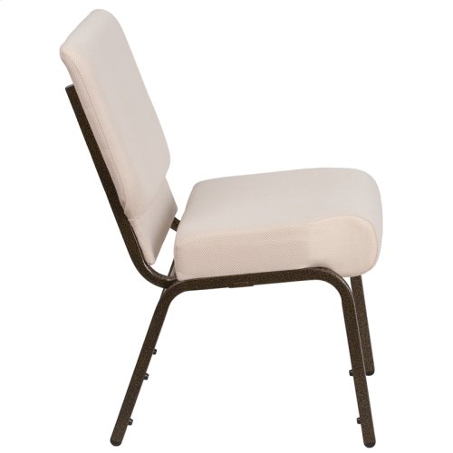 HERCULES Series 21''W Stacking Church Chair in Beige Fabric - Gold Vein Frame