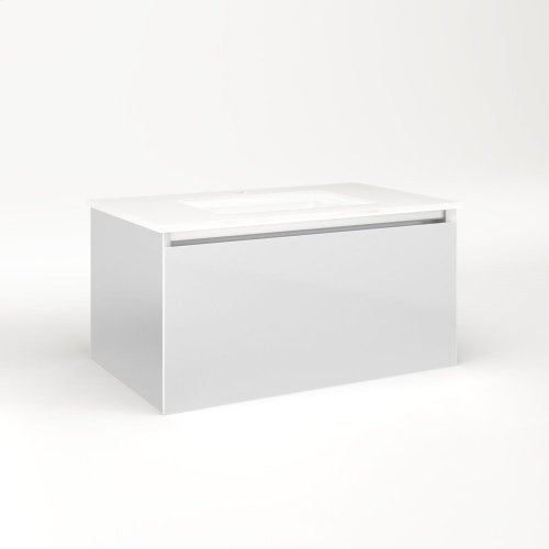 """Cartesian 30-1/8"""" X 15"""" X 18-3/4"""" Single Drawer Vanity In Satin White With Slow-close Full Drawer and Night Light In 5000k Temperature (cool Light)"""
