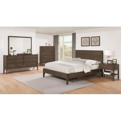 Lompoc Mid-century Modern Brown Walnut Eastern King Five-piece Set