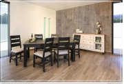 Chair w/Solid wood - Fabric seat - Black finish Product Image