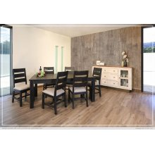 Chair w/Solid wood - Fabric seat - Black finish