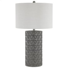 Cazoria Table Lamp In Grey Glazed Ceramic With Quatrefoil Pattern and White Faux Silk Hardback Shade