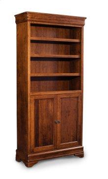 Louis Philippe Bookcase, Wood Doors on Bottom, Louis Philippe Bookcase, Wood Doors on Bottom, 5-Adjustable Shelves
