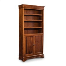 Louis Philippe Bookcase, Wood Doors on Bottom, Louis Philippe Bookcase, Wood Doors on Bottom, 5-Adjustable Shelves
