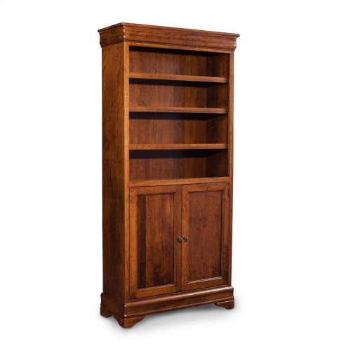 Louis Philippe Bookcase, Wood Doors on Bottom, Louis Philippe Bookcase, Wood Doors on Bottom, 3-Adjustable Shelves