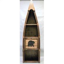 "#102C Canoe Bookshelf with Cutout Bear 23.5""wx16.5""dx83""h"