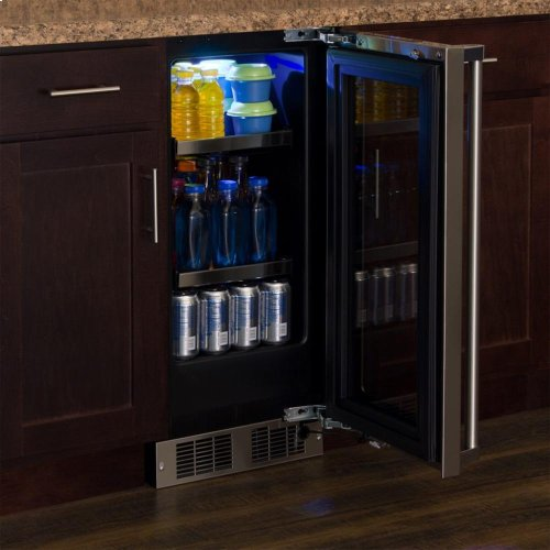 """15"""" Beverage Center - Panel-Ready Framed Glass Door with Lock - Integrated Right Hinge (handle not included)*"""