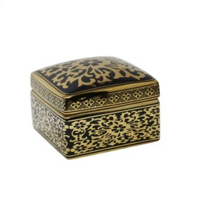 Square Black/gold Jar 6""