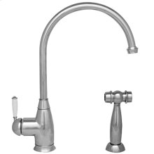 Queenhaus single lever faucet with a long goose neck spout, a porcelain single lever handle, and a solid side spray.