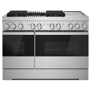 "JennAirNOIR 48"" Dual-Fuel Professional-Style Range with Chrome-Infused Griddle and Grill"