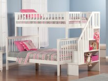 Woodland Staircase Bunk Bed Twin over Full in White