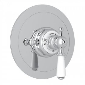 Polished Chrome Perrin & Rowe Edwardian Era Round Thermostatic Trim Plate Without Volume Control with Metal Lever
