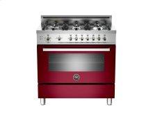 36 6-Burner, Gas Oven Burgundy-CLOSEOUT