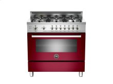 36 6-Burner, Gas Oven Burgundy-CLOSEOUT